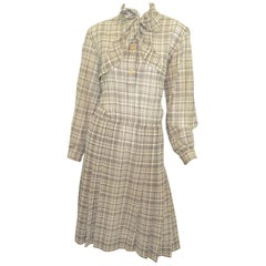 1970's Gucci Wool Challis Dress with Neck Tie
