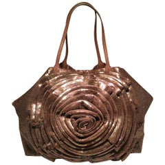 Valentino Tan Sequin Petale Flower Tote Bag