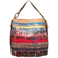Versace Multicolor Fringe Leather and Twill Frida Hobo Shoulder Bag