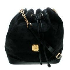 MCM Black Visetos Nylon Drawstring Bucket Bag