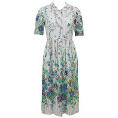 1960s Roger Frères Floral Chiffon Shirtwaist Dress