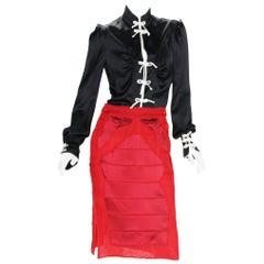 Rare Tom Ford for Yves Saint Laurent F/W 2004 Chinese Inspired Skirt Set  Fr. 38