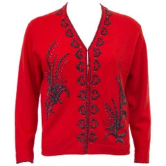 1950s Red Beaded Cashmere Sweater