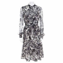 a1df32e22b5d Lanvin Dark Grey Floral Printed Silk Belted Midi Dress S