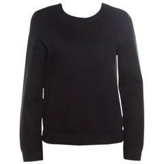 Valentino Black Contrast Flared Hem Detail Sweatshirt S