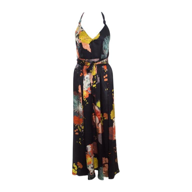 80158b2bd3 Dries van Noten Black Oriental Floral Printed Silk Halter Maxi Dress S For  Sale