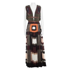 Valentino Colorblock Silk and Lace Paneled Leather Trim Plunge Neck Maxi Dress S