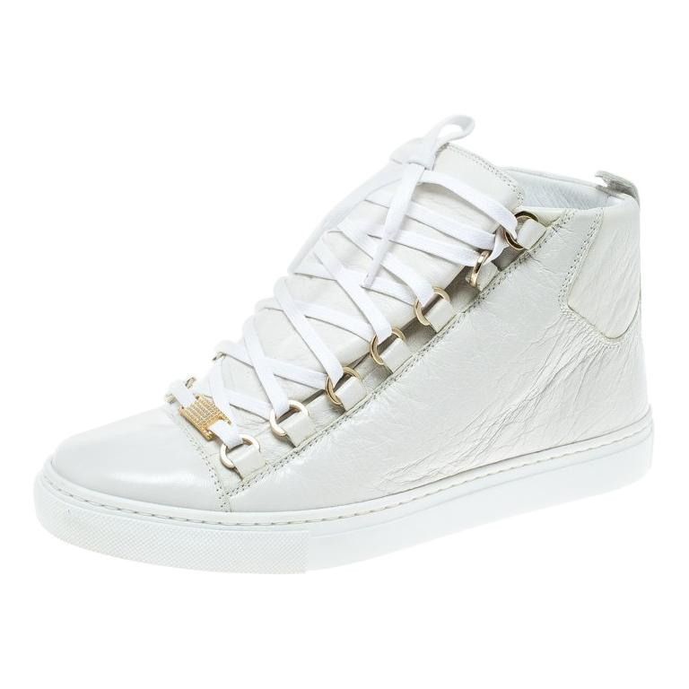 8bc8a485a Balenciaga White Leather Arena Platform Sneakers Size 37 For Sale at 1stdibs