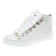 Balenciaga White Leather Arena Platform Sneakers Size 37