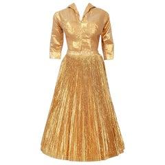 1950's Anita Bari Metallic-Gold Lamé Collared Blouse & Pleated Skirt Ensemble