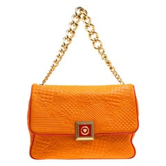 Versace Orange Micro Vanitas Quilted Leather Shoulder Bag