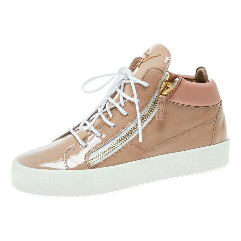 a6bda879ae3ee Giuseppe Zanotti Blush Pink Patent Leather London High Top Sneakers Size 41  For Sale