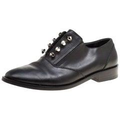 Balenciaga Black Leather Stud Embellished Oxfords Size 39.5