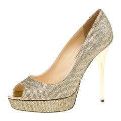 f33ec1df7e Jimmy Choo Metallic Gold Glitter Fabric Dahlia Platform Peep Toe Pumps Size  38