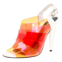 Fendi Multicolor Colorblock PVC Peep Toe Sandals Size 39