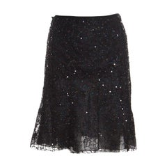 Emporio Armani Black Sequin Embellished and Lace Layered A Line Skirt S