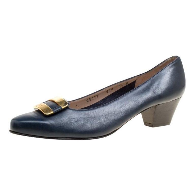 680069c1f68f Salvatore Ferragamo Royal Blue Leather Low Heel Pumps Size 39 For Sale