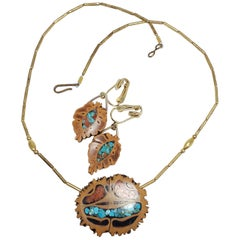 Native American Pendant Necklace Clip On Earrings in Gold, Turquoise, Coral