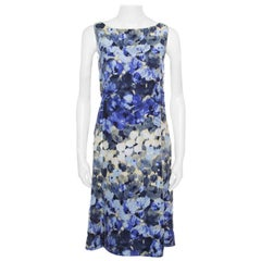 643bb8a7e8 Moschino Blue Floral Printed Linen Silk Bateau Neck Shift Dress S