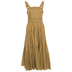 Proenza Schouler Khaki Green Cotton Tiered Tea Length Sleeveless Dress S