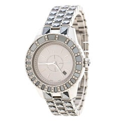 Dior Silver Grey Stainless Steel Christal CD113113 Women's Wristwatch 33 mm