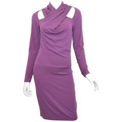 Alexander McQueen Purple Dress with Cut Out Shoulders