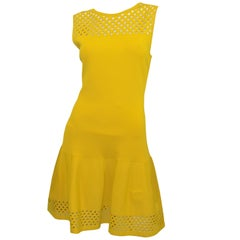 Fendi Yellow Fit and Flare Dress with Cutout Design