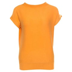 Hermes Yellow Cashmere Short Sleeve Sweater S