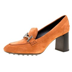 03d1aa6a0fc Tod s Orange Suede Gomma Maxi Double T Court Loafer Pumps Size 40