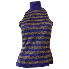 1980s Versace Purple & Gold Lurex Striped Sleeveless Turtleneck