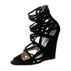 ea4010ee96d1 Jimmy Choo Black Suede Laser Cut Cage Wedge Sandals Size 39