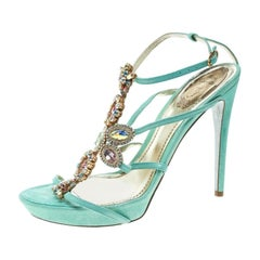 René Caovilla Mint Blue Suede Crystal Embellished Strappy Sandals Size 40