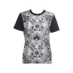 dd8d3ff7 Louis Vuitton Monochrome Floral Printed Silk Front Crew Neck T-Shirt S