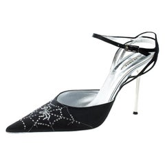 Le Silla Black Satin Crystal Embellished Spider Pointed Toe Sandals Size 39