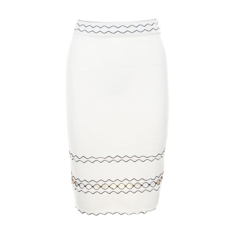62cd427412 Alexander McQueen Ivory Rib Knit Contrast Cut Out Hem Detail Pencil Skirt S  For Sale
