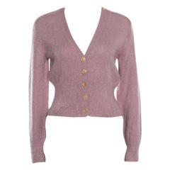 Louis Vuitton Dusty Pink Mohair Rib Knit Tapered Waist Sweater XS