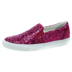 Dsquared2 Fuchsia Pink Coarse Glitter Slip On Sneakers Size 40