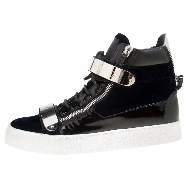 21b1a76b8493f Giuseppe Zanotti Navy Blue Velvet Black Leather Coby High Top Sneakers Size  43 For Sale