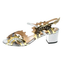 Charlotte Olympia Multicolor Leather Studded Ankle Strap Sandals Size 37