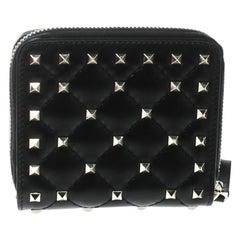 Valentino Black Leather Rockstud Zip Around Flap Wallet