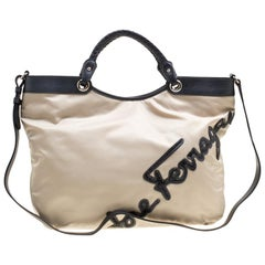 93d56ea6e9 Salvatore Ferragamo Beige Nylon Top Handle Bag
