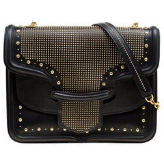 Alexander McQueen Black Leather Heroine Studded Shoulder Bag
