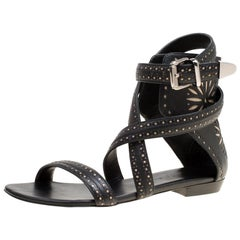 Barbara Bui Laser Cut Perforated Leather Ankle Cuff Strappy Flat Sandals Size 37