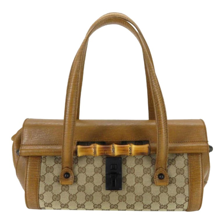 c3cd626270f145 Gucci Monogram Bamboo Bullet 868091 Brown Canvas Satchel For Sale at ...