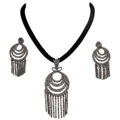 Circa 1800s Georgian Cut Steel Pendant and Dangling Earrings