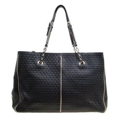 Tod's Black Embossed Leather Signature Chain Strap Tote