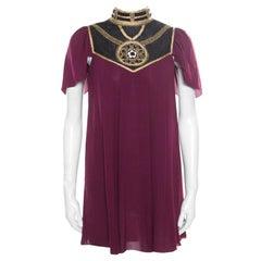 Temperley Bordeaux Silk Crepe Embellished Alexandria Tunic S