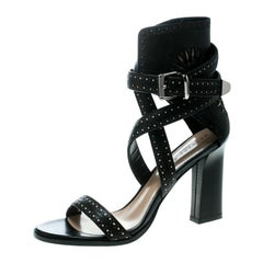 Barbara Bui Cut Perforated Leather Ankle Cuff Strappy Block Heel Sandals Size 41