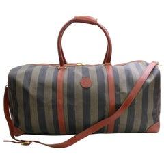 Fendi Pequin Stripe 2way Duffle Boston 867743 Brown Leather Weekend/Travel Bag