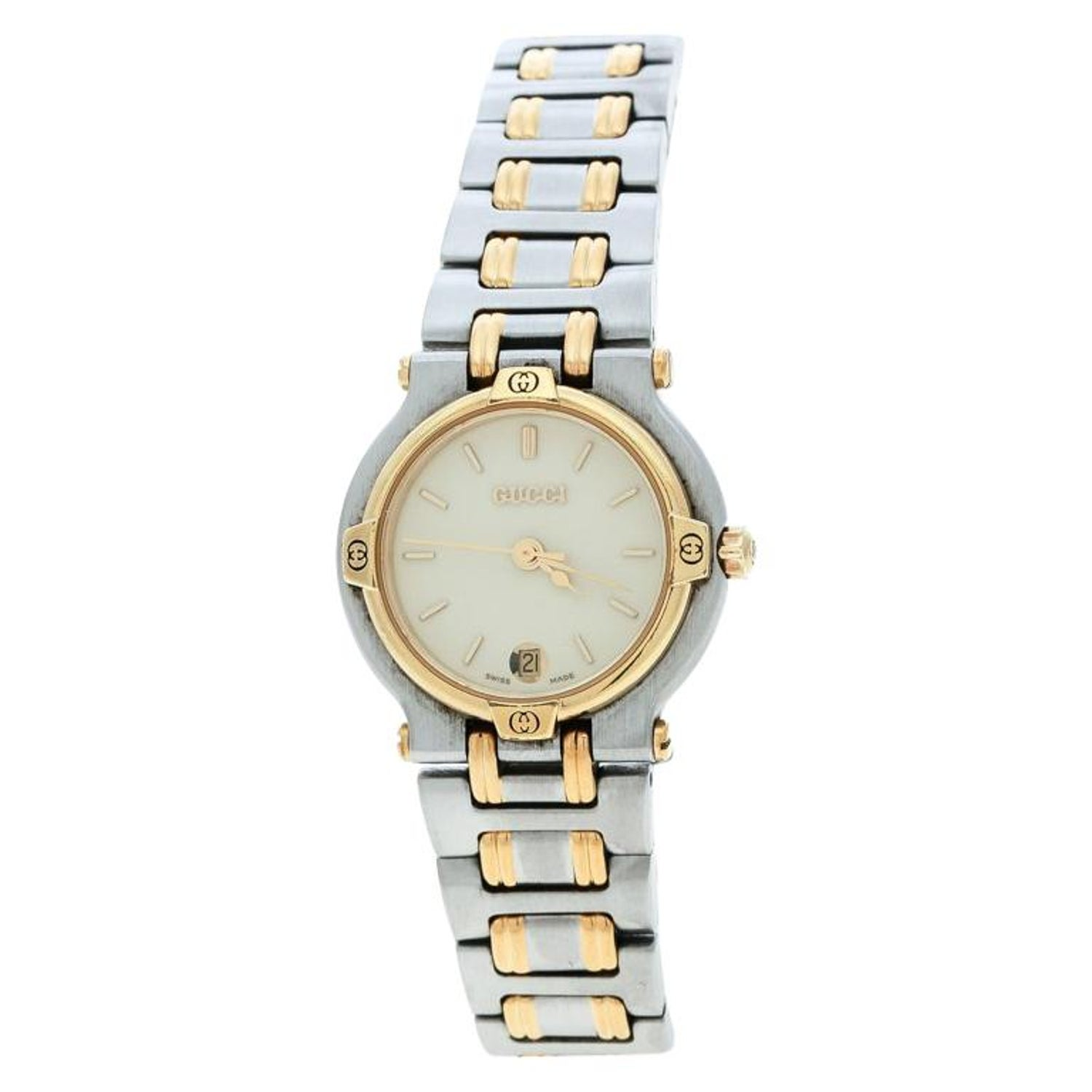 f5329cab9d6 Gucci Cream Two-Tone Stainless Steel 9000L Women s Wristwatch 25 mm For  Sale at 1stdibs